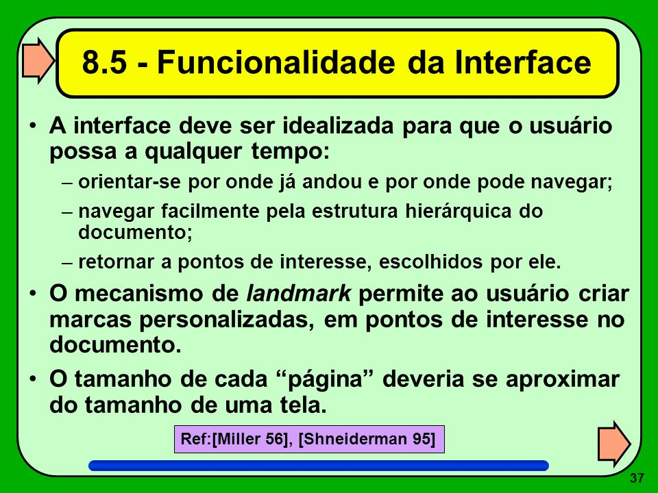 8.5 - Funcionalidade da Interface