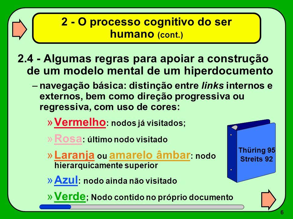 2 - O processo cognitivo do ser humano (cont.)