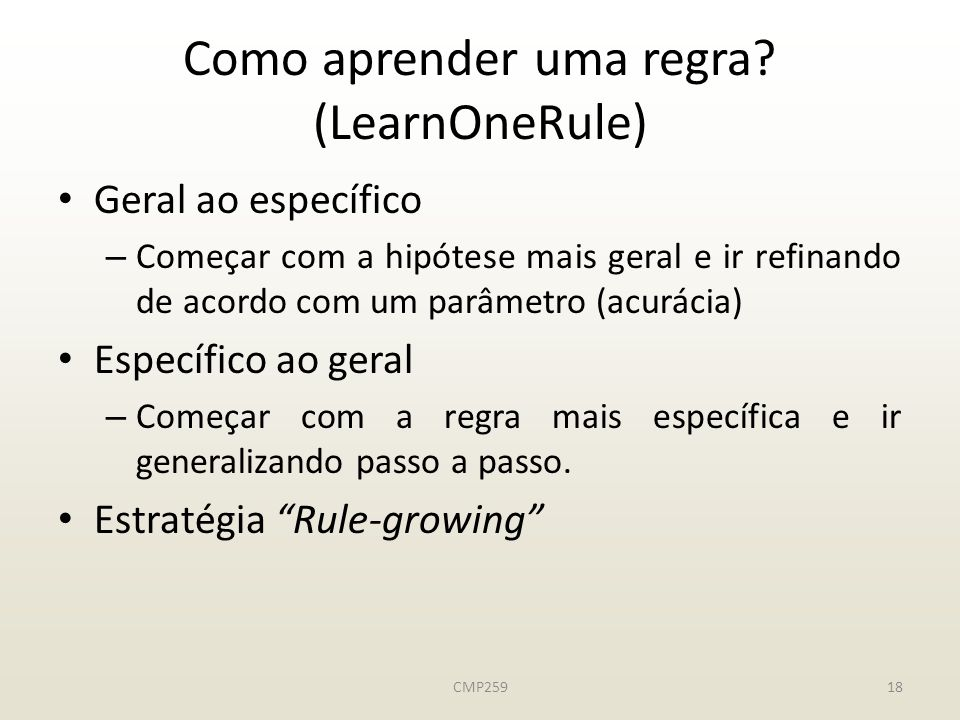 Como aprender uma regra (LearnOneRule)