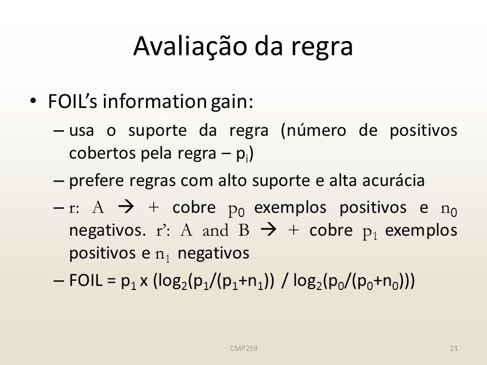 Avaliação da regra FOIL's information gain: