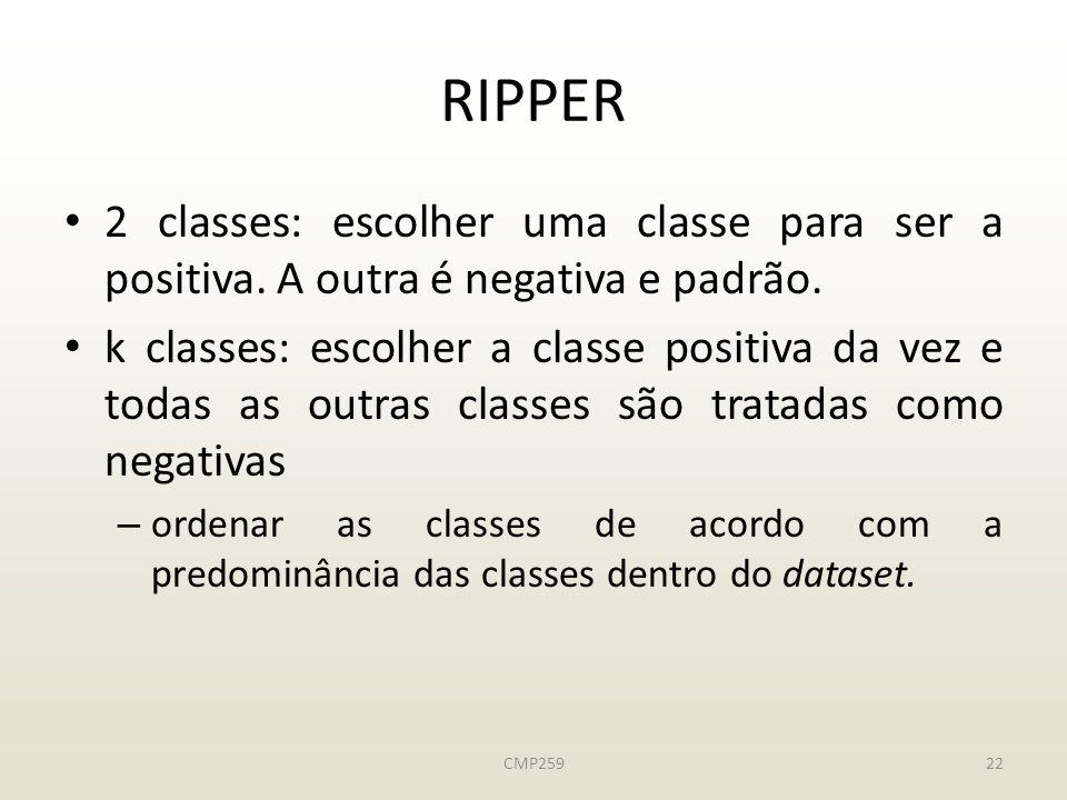 RIPPER 2 classes: escolher uma classe para ser a positiva. A outra é negativa e padrão.