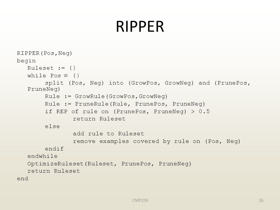 RIPPER RIPPER(Pos,Neg) begin Ruleset := {} while Pos {}