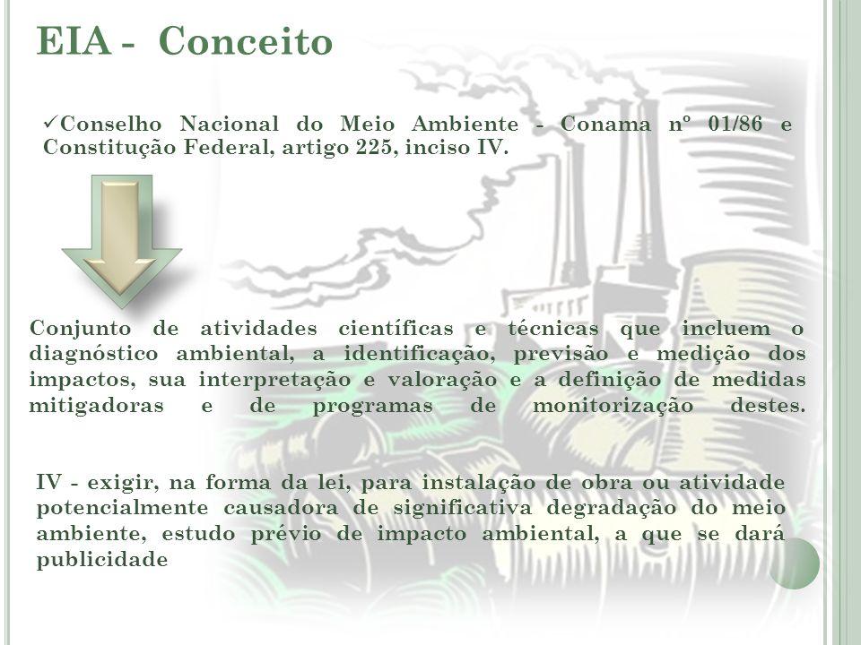 EIA - Conceito Conselho Nacional do Meio Ambiente - Conama nº 01/86 e Constitução Federal, artigo 225, inciso IV.