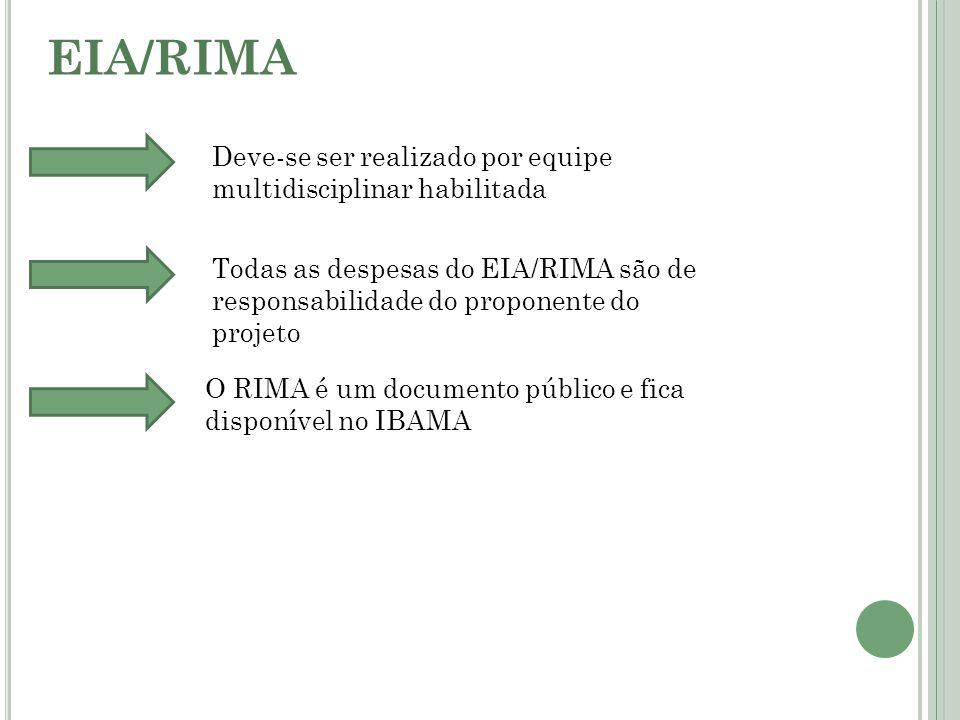 EIA/RIMA Deve-se ser realizado por equipe multidisciplinar habilitada