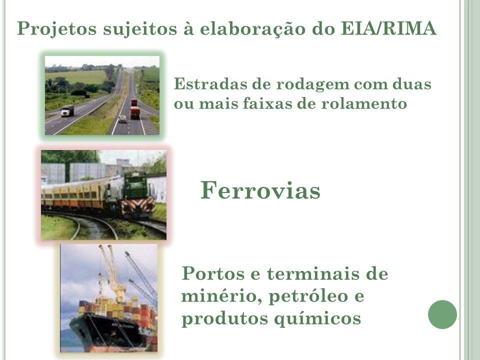 Ferrovias Projetos sujeitos à elaboração do EIA/RIMA