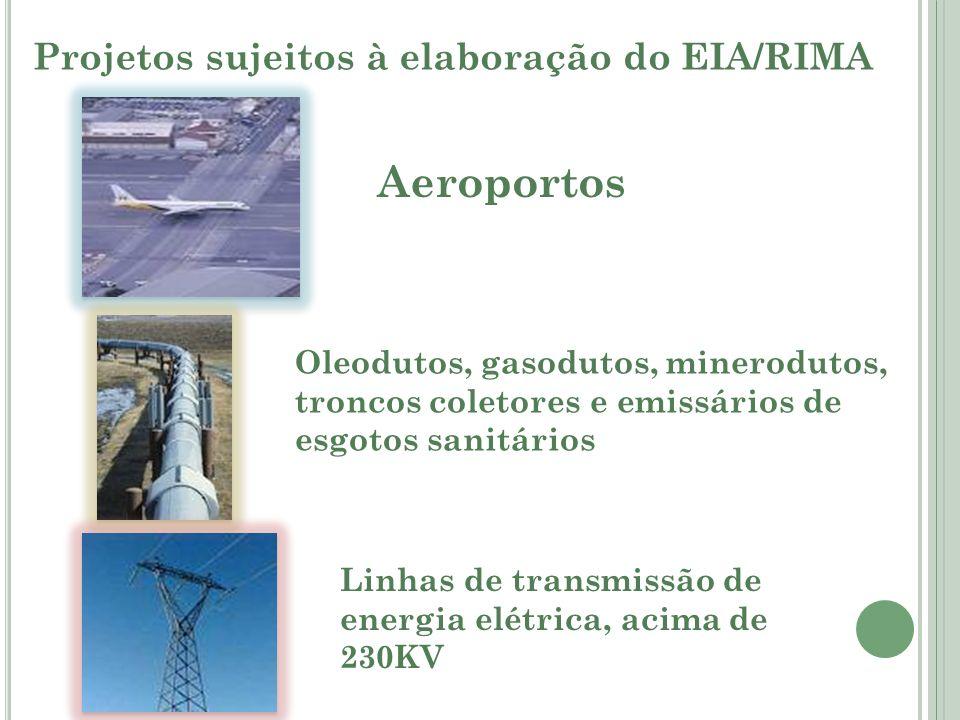 Aeroportos Projetos sujeitos à elaboração do EIA/RIMA