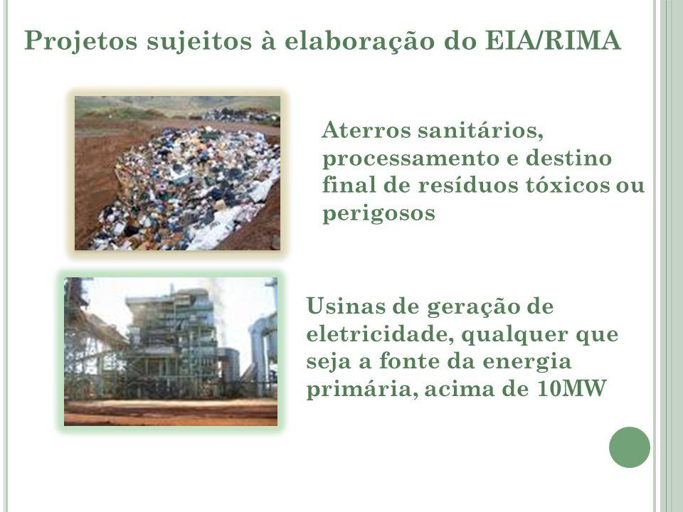 Projetos sujeitos à elaboração do EIA/RIMA