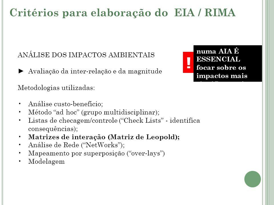 ! Critérios para elaboração do EIA / RIMA