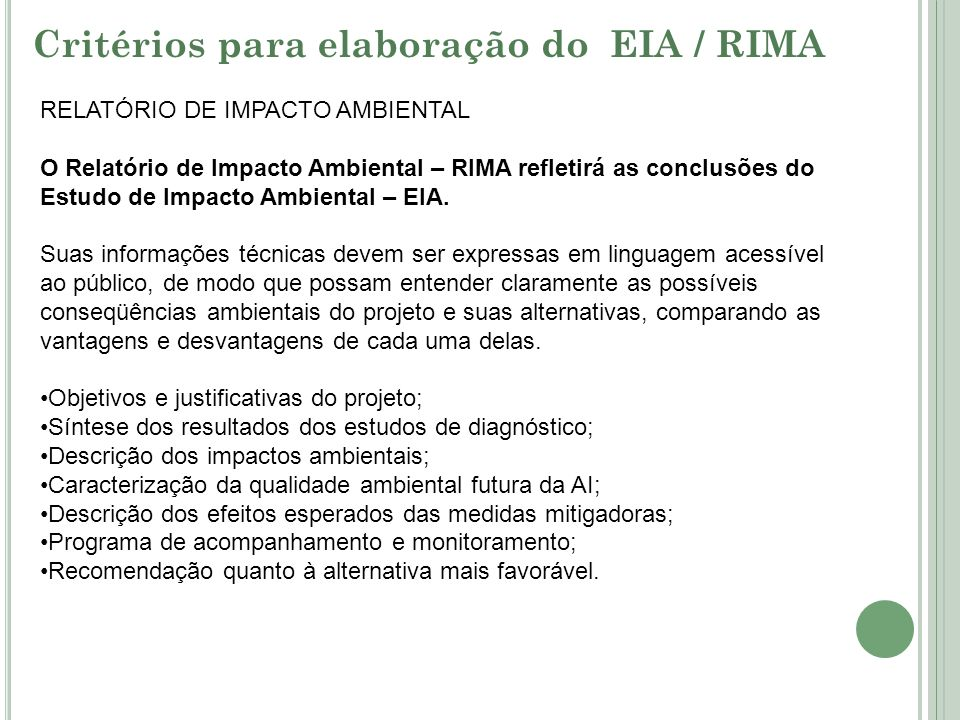 Critérios para elaboração do EIA / RIMA