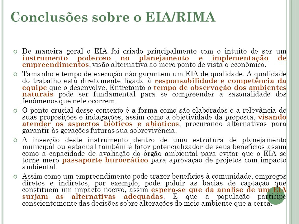 Conclusões sobre o EIA/RIMA