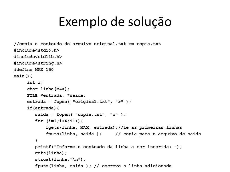Exemplo de solução