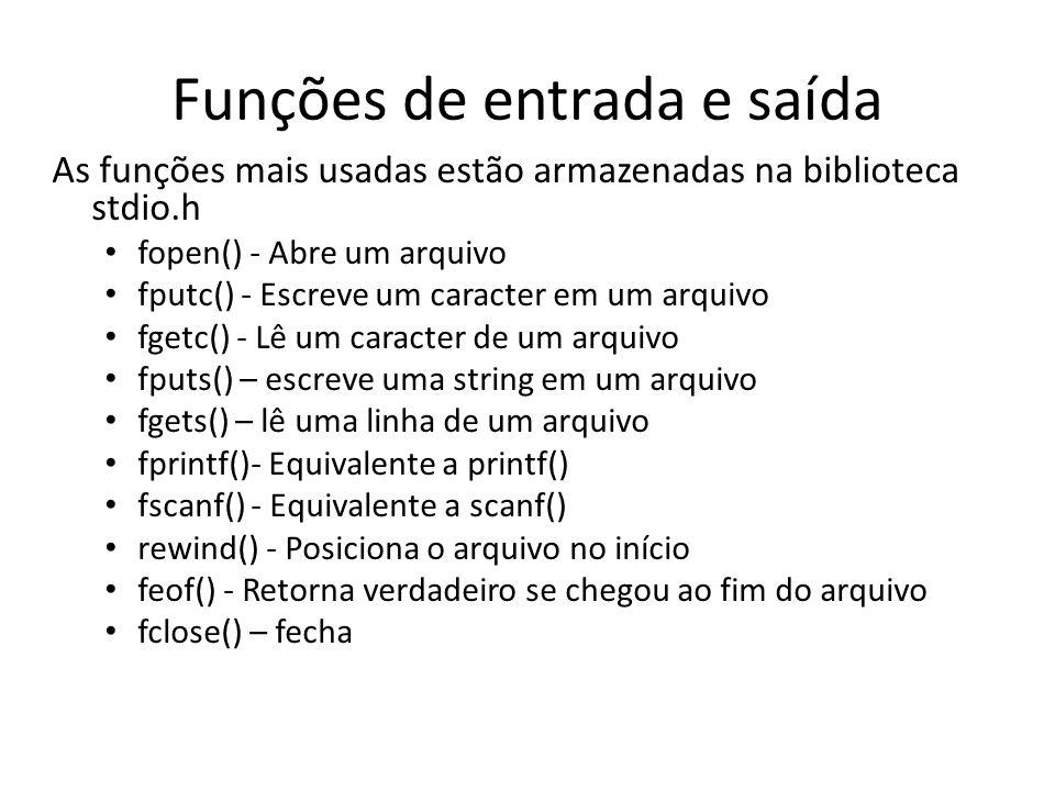Funções de entrada e saída