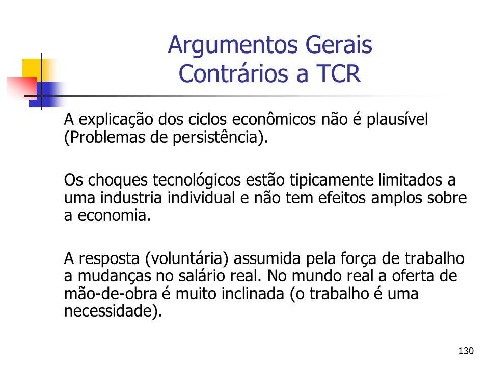 Argumentos Gerais Contrários a TCR