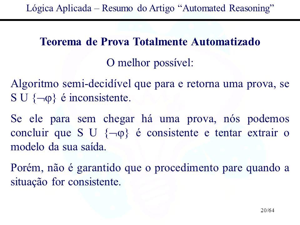 Teorema de Prova Totalmente Automatizado O melhor possível: