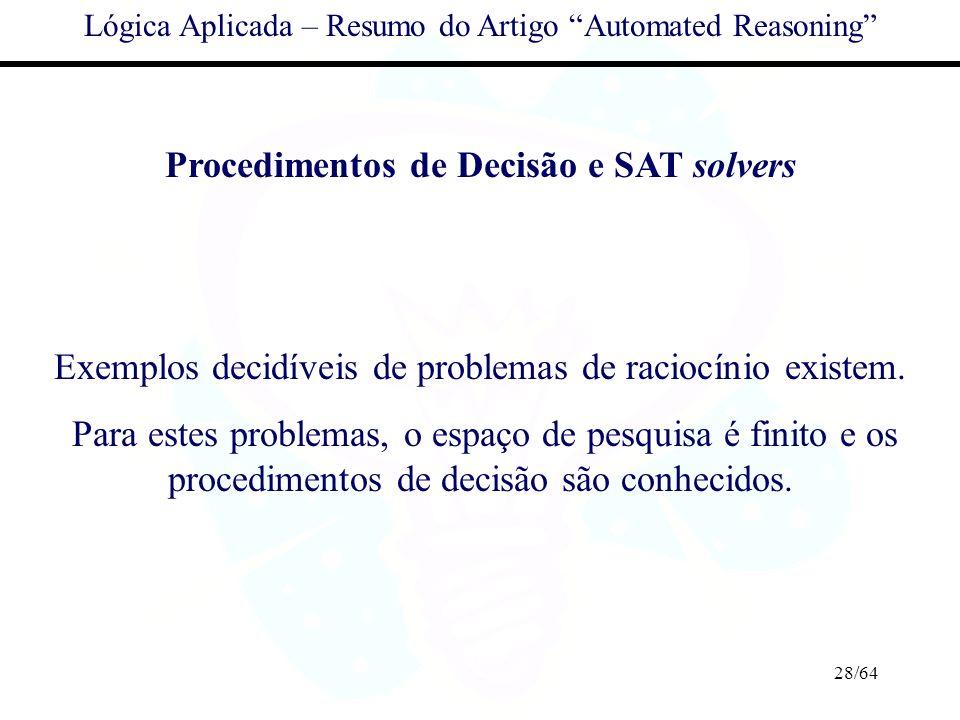 Procedimentos de Decisão e SAT solvers