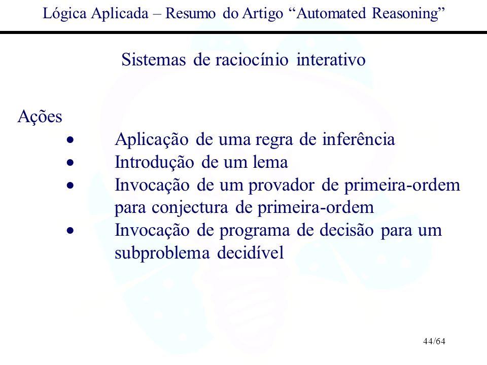 Sistemas de raciocínio interativo Ações