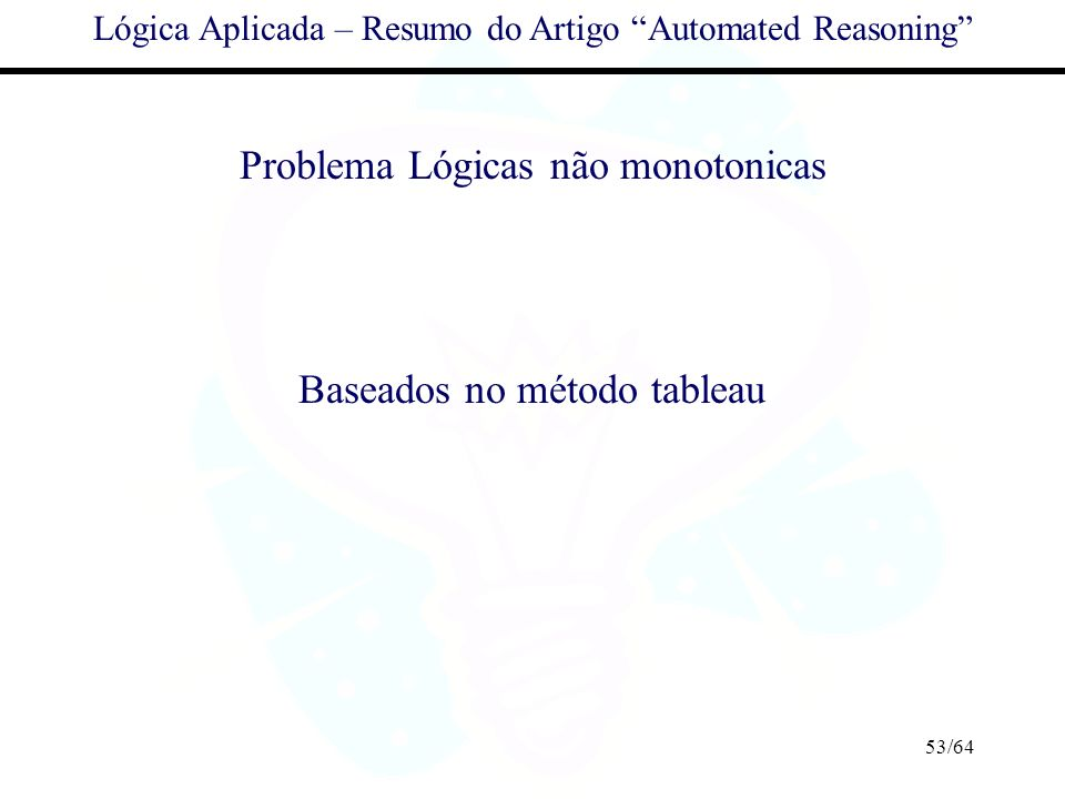 Problema Lógicas não monotonicas