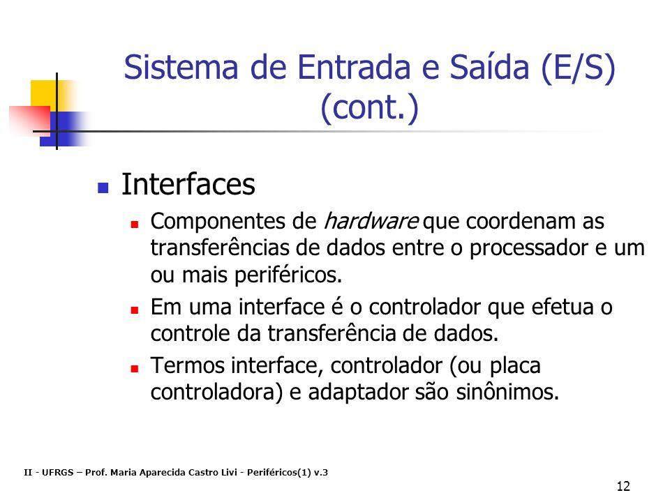 Sistema de Entrada e Saída (E/S) (cont.)