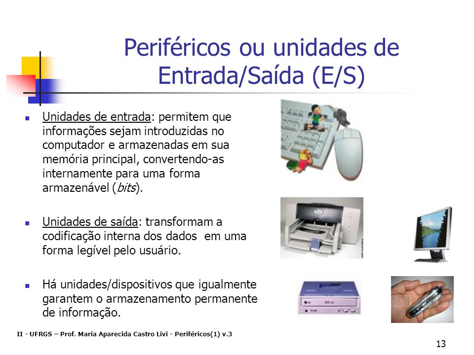 Periféricos ou unidades de Entrada/Saída (E/S)