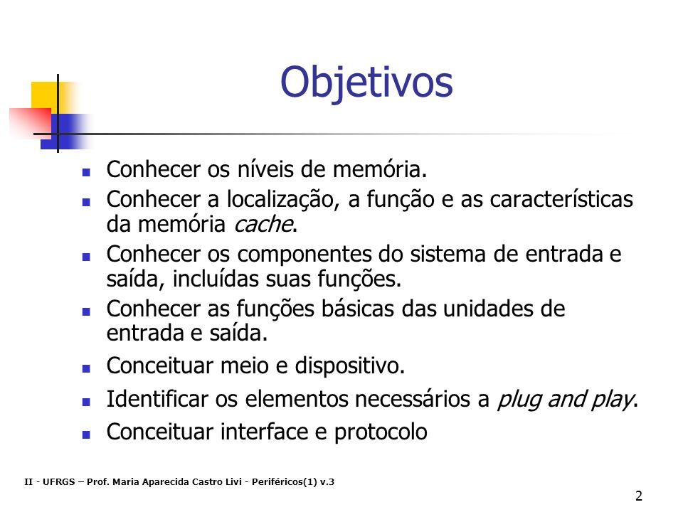 Objetivos Conhecer os níveis de memória.