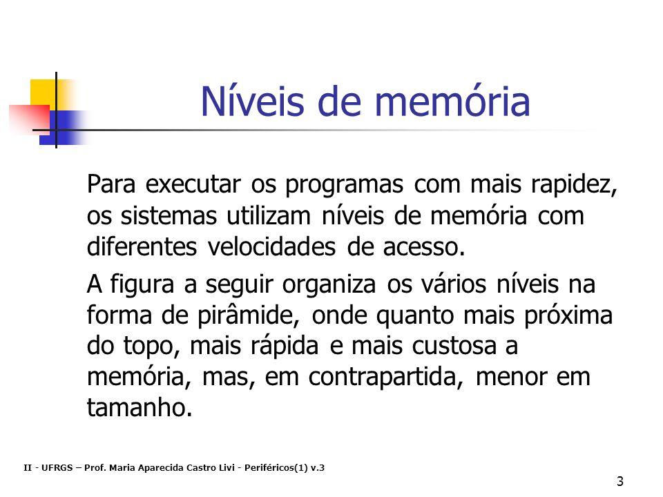 Níveis de memória Para executar os programas com mais rapidez, os sistemas utilizam níveis de memória com diferentes velocidades de acesso.