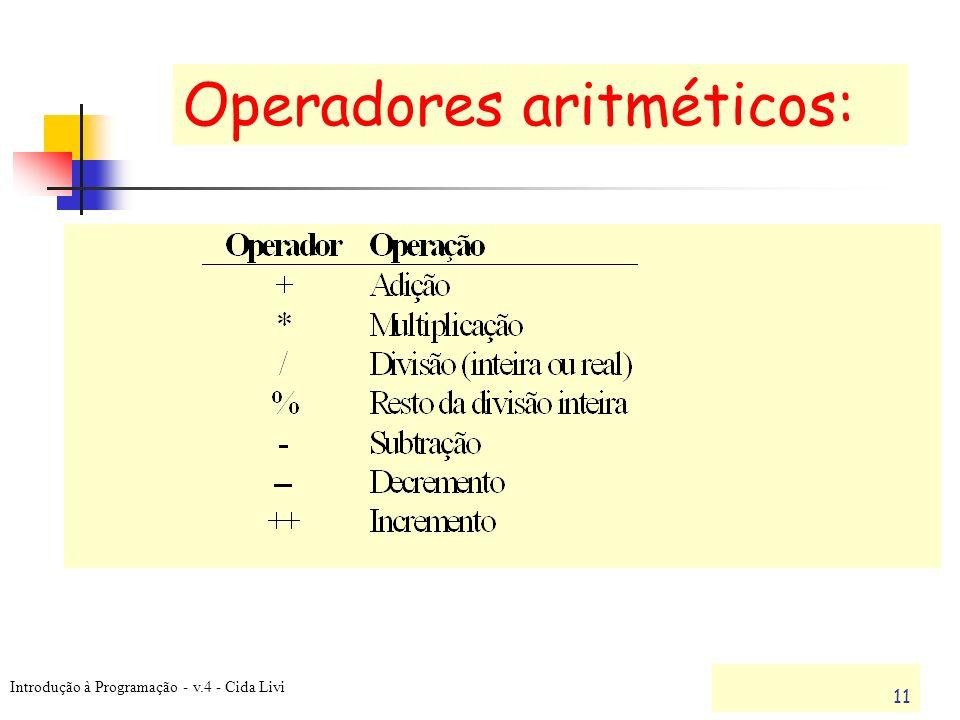 Operadores aritméticos: