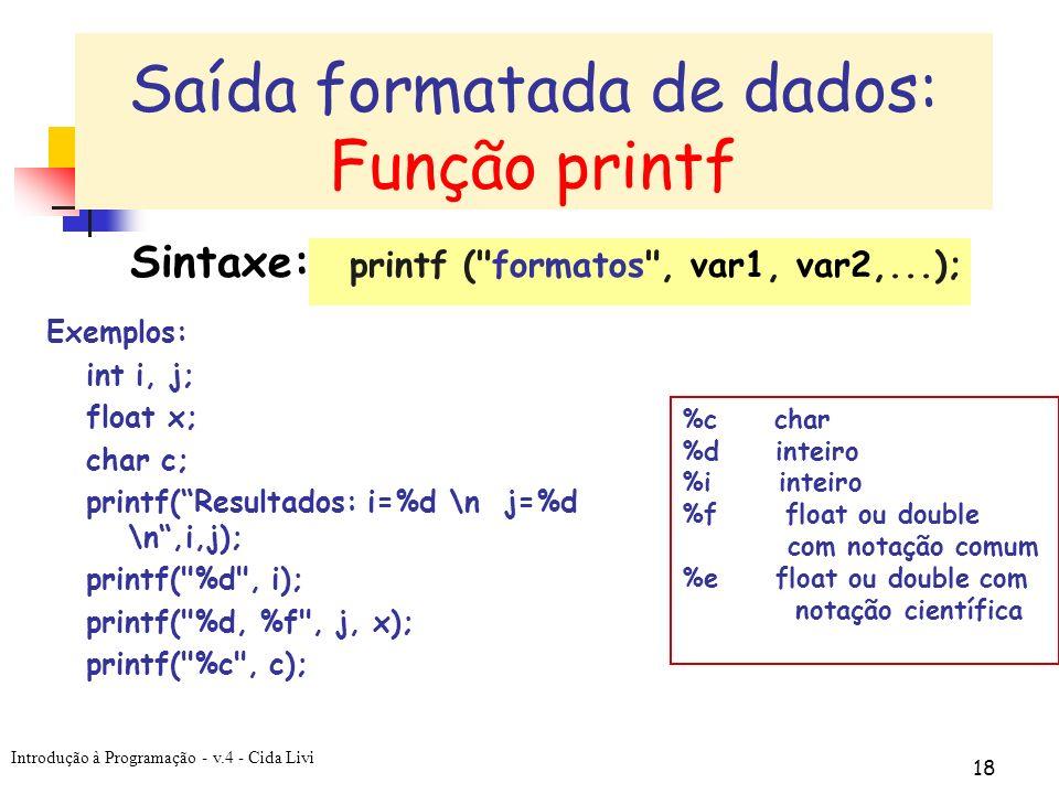 Saída formatada de dados: Função printf