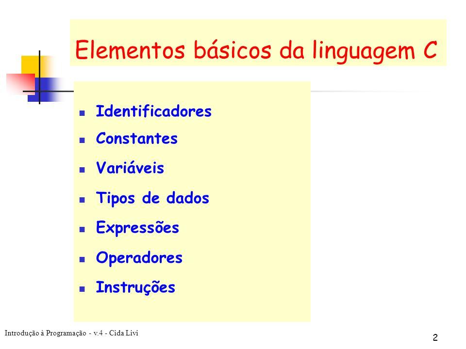 Elementos básicos da linguagem C