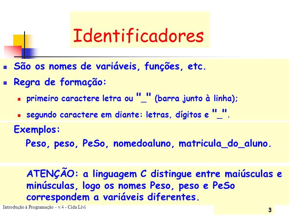 Identificadores São os nomes de variáveis, funções, etc.