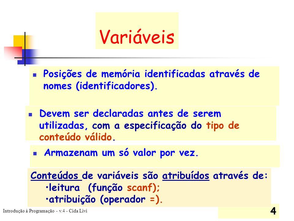 Variáveis Posições de memória identificadas através de nomes (identificadores).