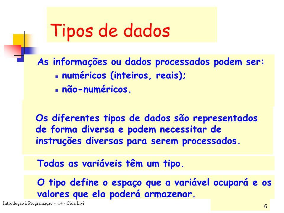 Tipos de dados numéricos (inteiros, reais); não-numéricos.