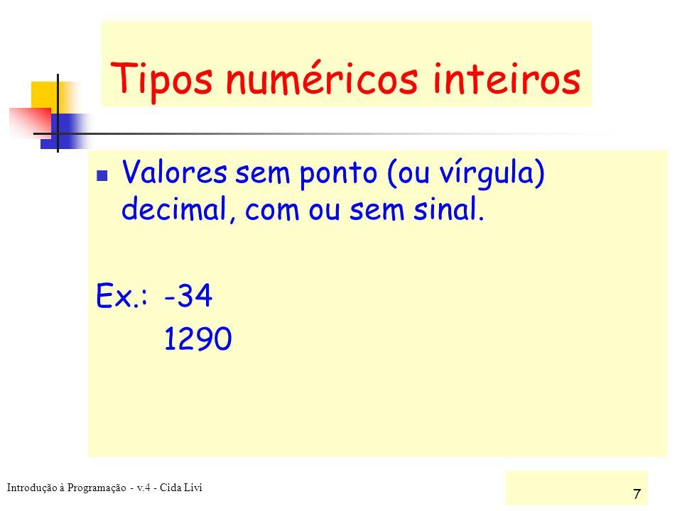 Tipos numéricos inteiros