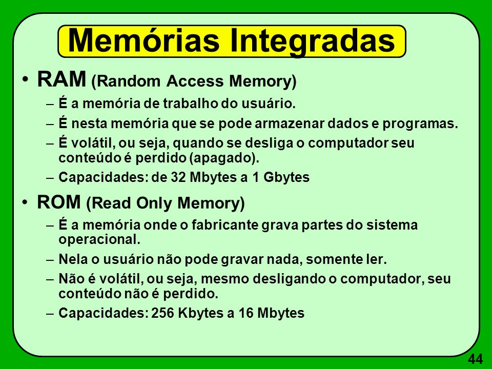 Memórias Integradas RAM (Random Access Memory) ROM (Read Only Memory)