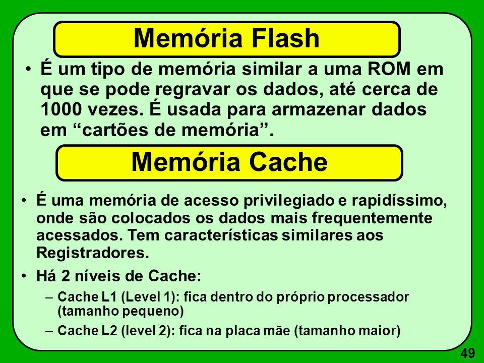 Memória Flash Memória Cache