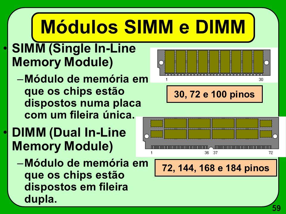 Módulos SIMM e DIMM SIMM (Single In-Line Memory Module)