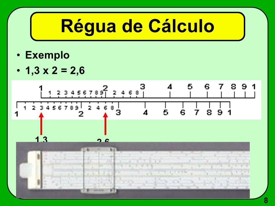 Régua de Cálculo Exemplo 1,3 x 2 = 2,6 1,3 2,6