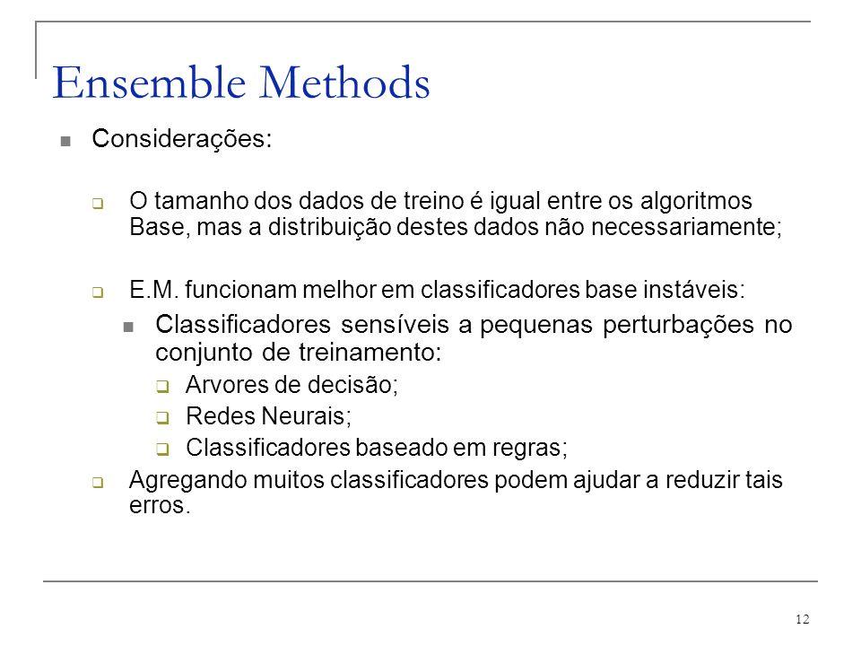 Ensemble Methods Considerações: