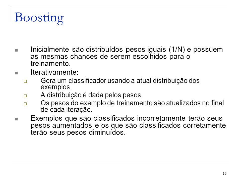 Boosting Inicialmente são distribuídos pesos iguais (1/N) e possuem as mesmas chances de serem escolhidos para o treinamento.