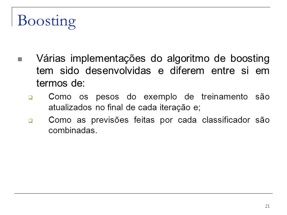 Boosting Várias implementações do algoritmo de boosting tem sido desenvolvidas e diferem entre si em termos de: