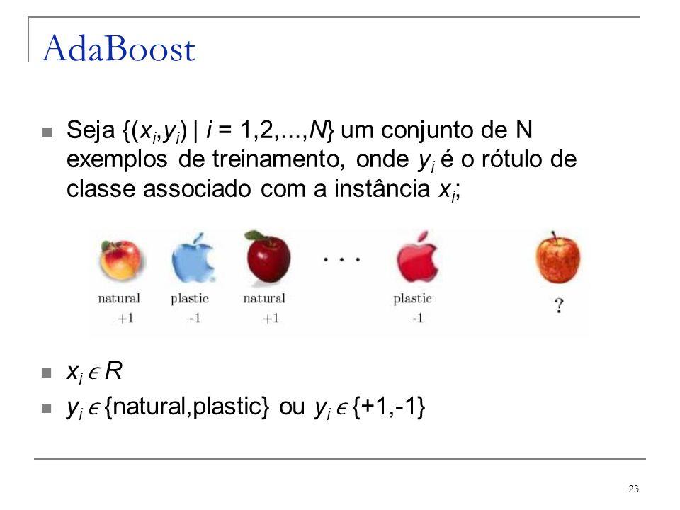 AdaBoost Seja {(xi,yi) | i = 1,2,...,N} um conjunto de N exemplos de treinamento, onde yi é o rótulo de classe associado com a instância xi;