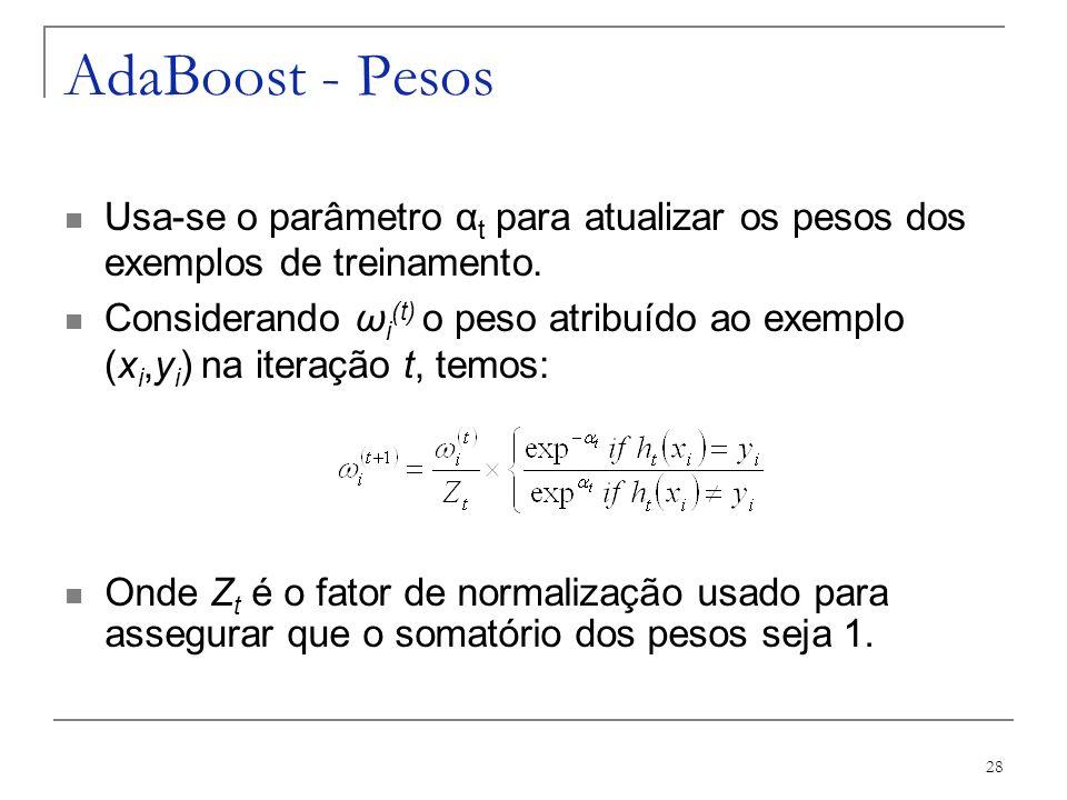 AdaBoost - Pesos Usa-se o parâmetro αt para atualizar os pesos dos exemplos de treinamento.