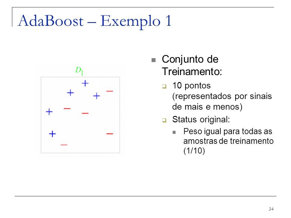 AdaBoost – Exemplo 1 Conjunto de Treinamento: