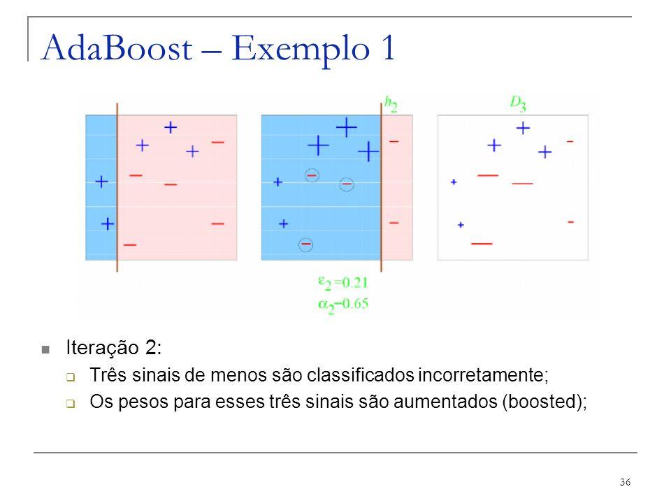 AdaBoost – Exemplo 1 Iteração 2: