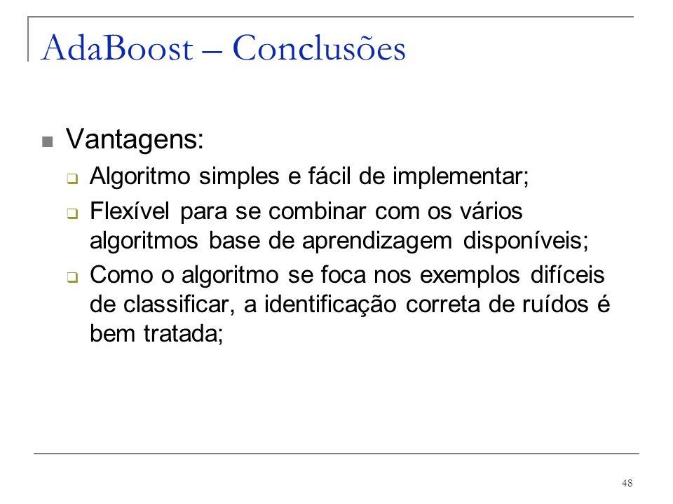 AdaBoost – Conclusões Vantagens:
