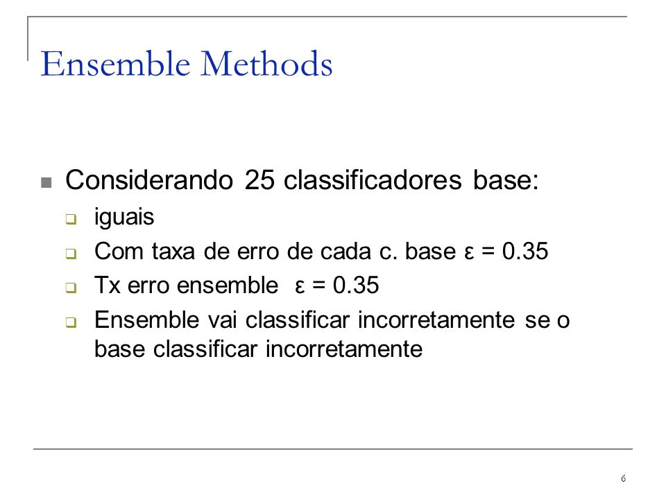Ensemble Methods Considerando 25 classificadores base: iguais