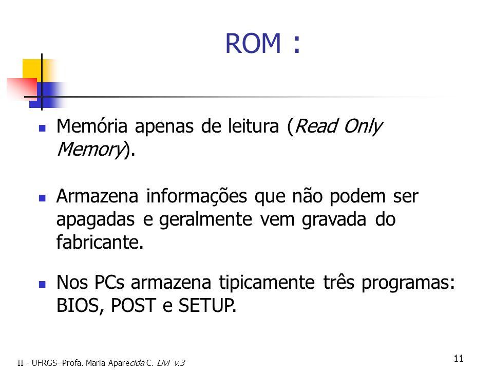 ROM : Memória apenas de leitura (Read Only Memory).