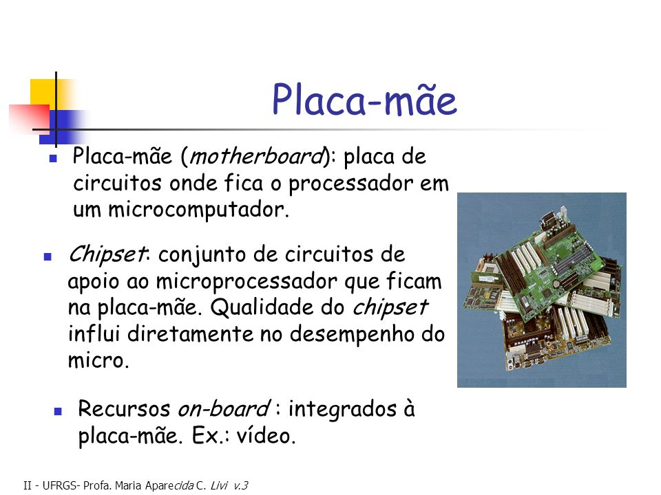 Placa-mãe Placa-mãe (motherboard): placa de circuitos onde fica o processador em um microcomputador.
