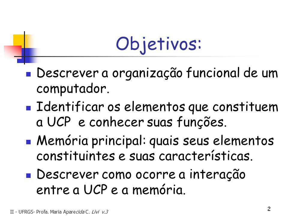 Objetivos: Descrever a organização funcional de um computador.
