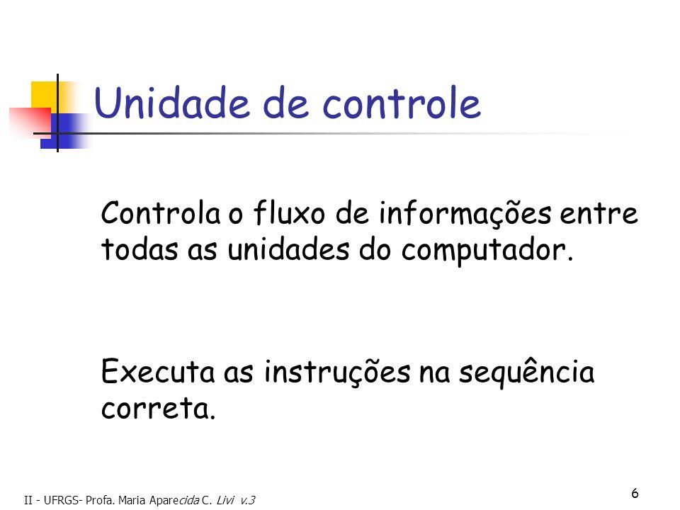 Unidade de controle Controla o fluxo de informações entre todas as unidades do computador. Executa as instruções na sequência correta.