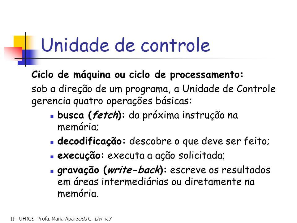 Unidade de controle Ciclo de máquina ou ciclo de processamento:
